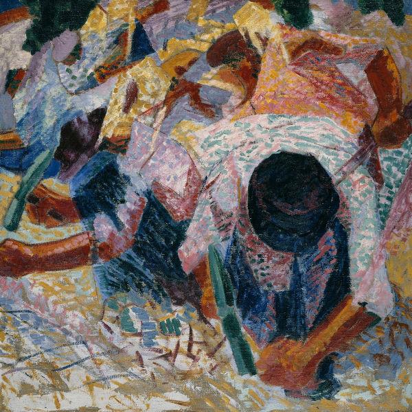 Os pavimentadores de rua, de Umberto Boccioni, exemplo de obra futurista.