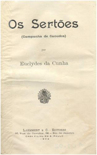 Capa da primeira edição de Os sertões, de 1902.