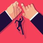 Ilustração de mãos manipulando fantoche