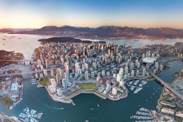 Vista aérea de Vancouver, no Canadá